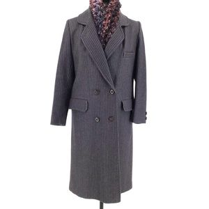 Vintage Tradition Grey Pinstriped Wool Trenchcoat